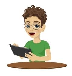 Young nerd teenager boy using tablet computer vector