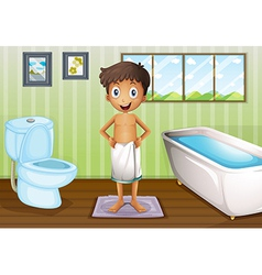 A boy inside the bathroom vector image vector image