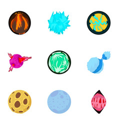 Alien world icons set cartoon style vector