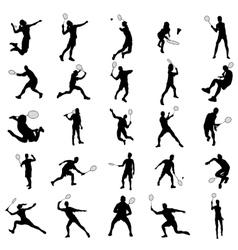 Badminton silhouette set vector