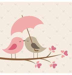 Birds under umbrella vector