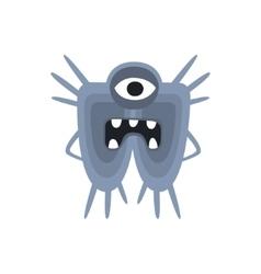 Blue One-Eyed Aggressive Malignant Bacteria vector image