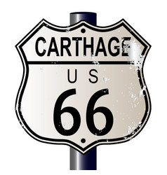 Carthage route 66 highway sign vector