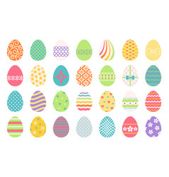 colored easter eggs icons vector image