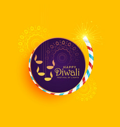 Creative of diwali festival of light with burning vector