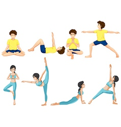 Different yoga poses vector image