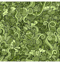 Easter doodles seamless pattern vector image vector image