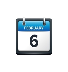 February 6 Calendar icon flat vector image vector image