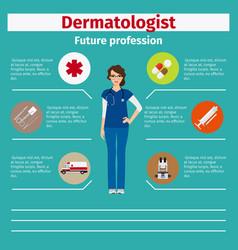 Future profession dermatologist infographic vector