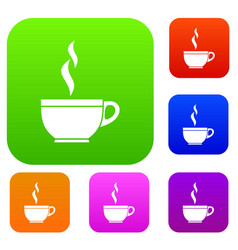 glass cup of tea set collection vector image vector image
