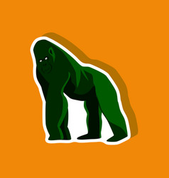 gorilla paper sticker on stylish background vector image
