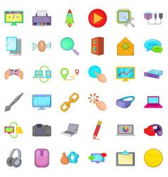 Laptop icons set cartoon style vector