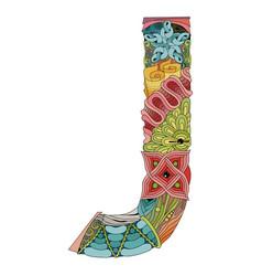 Letter j zentangle decorative object vector