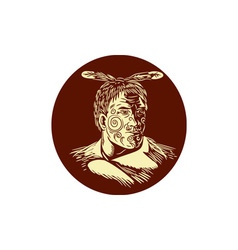 Maori Chieftain Head Oval Woodcut vector image