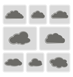 monochrome icons with clouds vector image vector image