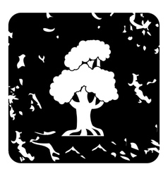 Old tree icon grunge style vector