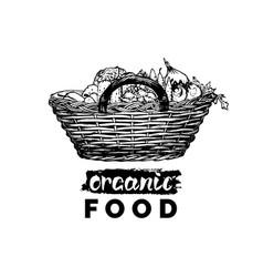 organic vegetables poster farm fresh eco vector image vector image