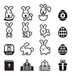 rabbit bunny easter icon vector image vector image