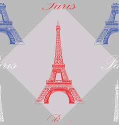 seamless pattern with eiffel tower on grey vector image