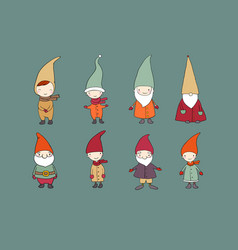 Set of cute cartoon gnomes funny elves vector