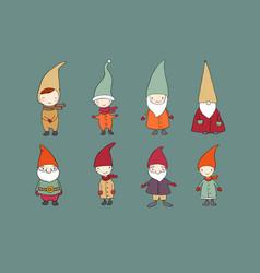 set of cute cartoon gnomes funny elves vector image vector image