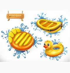 Summer yellow inflatable toys and water splashes vector
