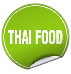Thai food round green sticker isolated on white vector