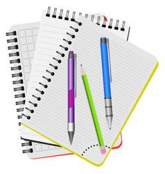 Three notebooks and three pens vector