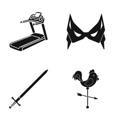 Treadmill mass and other web icon in black style vector