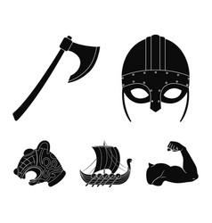 Viking helmet battle ax rook on oars with vector