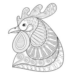 Zentangle cartoon rooster vector