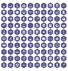 100 researcher science icons hexagon purple vector