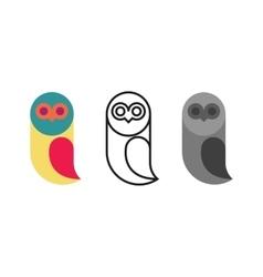 Owl logo birds set thin line monogram silhouette vector image