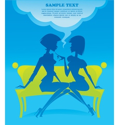 Fashionable chatting girls silhouettes vector