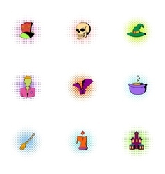 Halloween icons set pop-art style vector