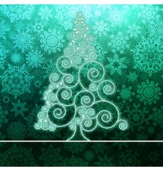 Christmas card stylized green glowing  eps8 vector