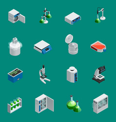 Scientific laboratory equipment isometric icons vector