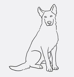 german shepherd sitting pet dog doodle style vector image