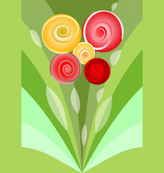 modern flower bouquet with red and yellow roses vector image
