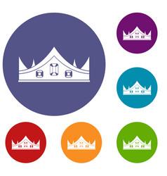 Royal crown icons set vector