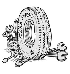 Car Tire and Tools vector image