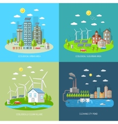 Eco city design concept set vector