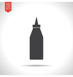 Flat bottle with ketchup vector