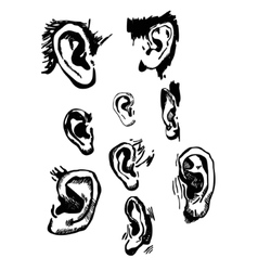 Human ears set realistic hand drawn vector