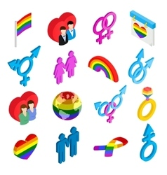 Gay pride isometric 3d icons vector