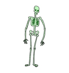 Comic cartoon spooky skeleton vector