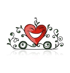 Valentine day heart shape carriage sketch for vector