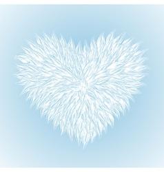 Fluffy white heart vector
