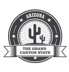 Arizona state round stamp with cactus and ribbon vector