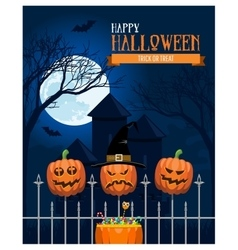 Halloween castle postcard vector